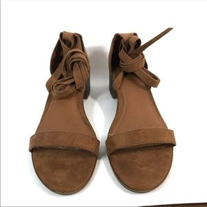 Brash Brown Suede Lace Up Chunky Block Heel Shoes
